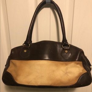 Genuine leather and canvas handbag